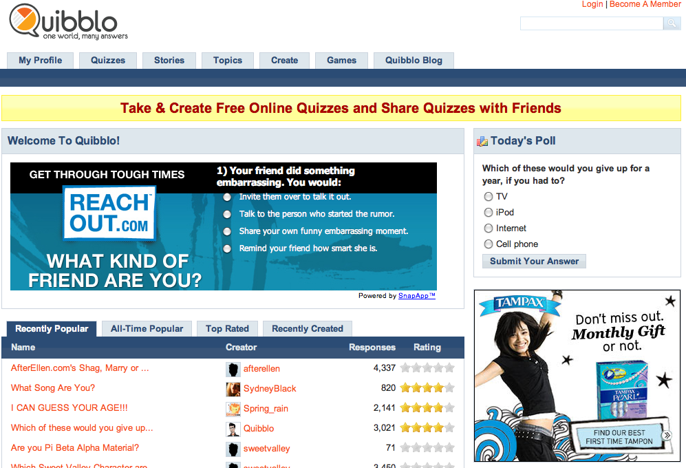 ReachOut com Uses SnapApp to Engage Teens on Quibblo com